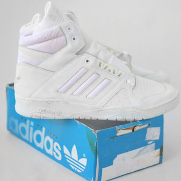 NEW Vintage Adidas Association Hi Shoes // Made in Algeria // Deadstock Mens Basketball Trainers Sneakers 11uk  46Eu 11.5us - 80s