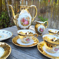 Vintage Bavaria Gilt Tea Demitasse 10 Piece Set