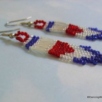 Red, White and Blue Handcrafted Fringe Earrings