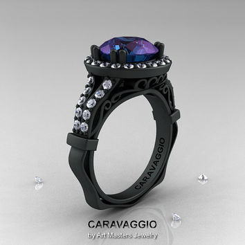 Caravaggio 14K Matte Black Gold 3.0 Ct Russian Alexandrite Diamond Engagement Ring, Wedding Ring R620-14KMBGDAL