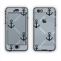 The Navy & Gray Vintage Solid Color Anchor Linked Apple iPhone 6 Plus LifeProof Nuud Case Skin Set
