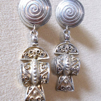 Vintage 80's Silver Aztec/Mayan Style Fish Ancient Alien Inspired Earrings, Southwestern Native American South American Ladies Gift Striking