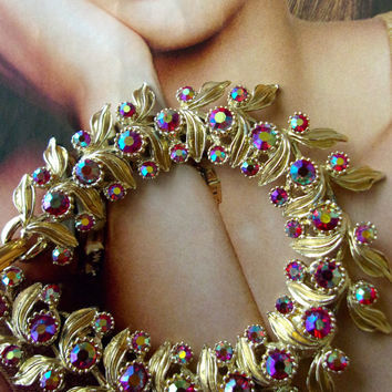 Red Siam Rhinestone BSK Bracelet, Flower Leaf Motif, Gold Plated....Signed Vintage
