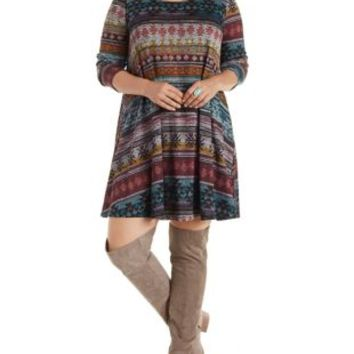 Plus Size Multi Aztec Print Swing Dress by Charlotte Russe