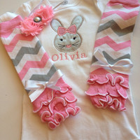 Baby Girl  Easter Outfit - personalized baby girl outfit - spring baby outfit - pink legwarmers - easter bunny bodysuit