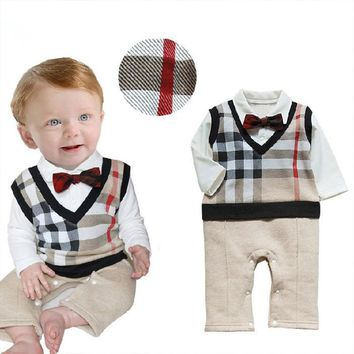 Retail 2017 100% Cotton Baby Boy Roupas Infant Critical Gentleman Bow Long Sleeve Baby Boy Clothes