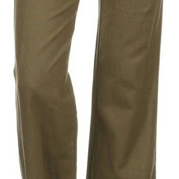 Linen Blend Loose Fit Pants W/Waist Tie & Zipper Closure