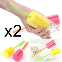 BornIsKing 2Pcs Cup Brush Kitchen Cleaning Tool Sponge Brush For Wineglass Bottle Coffe Tea Glass Cup Mug Free Shipping
