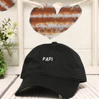 Vintage PAPI Baseball Cap Low Profile Dad Hats Baseball Hat Embroidery Black