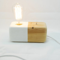 Modern table lamp edison slyle wood block white