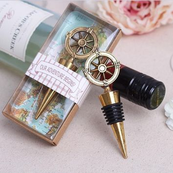 Vintage Compass Twist Red Wine Bottle Stopper Wedding Dinner Party Supplies
