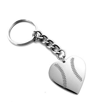 Baseball Heart Necklace on Key Chain