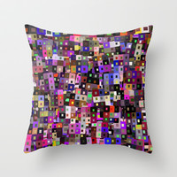 Geometric Blocks and Squares Throw Pillow by pugmom4