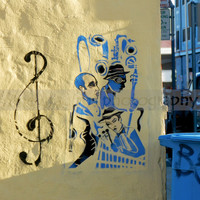 "Clef Note - Jazz Graffiti Photograph - Music Art - Street Photography - Yellow and Blue 8""x10"" Ready To Frame"