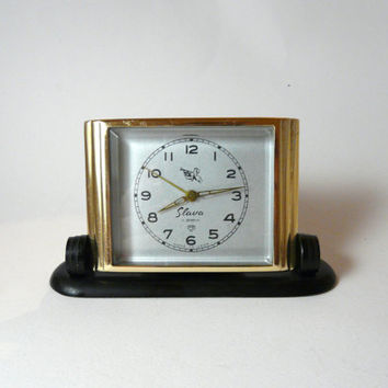 "Slava Alarm Clock, vintage USSR .Russian Clock, ""Slava"" 11 jewels, Mechanical Clock, very good vintage working condition"