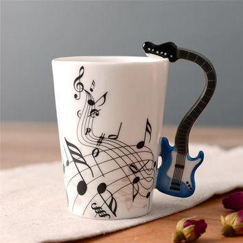 Novelty Guitar Ceramic Cup Personality Music Note Milk Juice Lemon Mug Coffee Tea Cup Home Office Drinkware Unique Gift