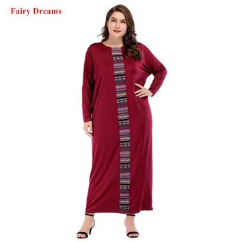 Women Large Size Clothing Red Dubai Loose Long Dress 2018 New Style Spring Autumn Maxi Dresses Fairy Dreams