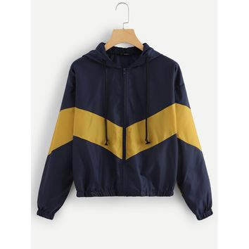 Zip Front Color Block Hoodie Jacket
