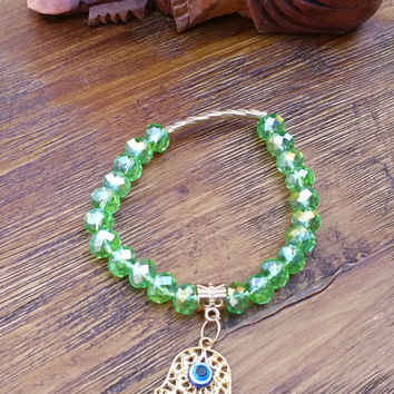 Original Collection- Green Crystal Beads/Gold Tone Hamsa with Evil Eye Hand Made