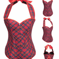 Red Plaid Halter Corset