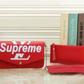 PEAPNW6 LV x Supreme Women Fashion Shopping Satchel Crossbody Purse Wallet Three Piece Set