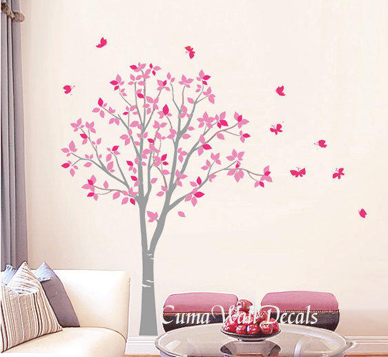 Vinyl Wall Decals Pink Tree Owl And From Cuma On Etsy