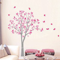 Vinyl wall decals pink tree owl and butterfly Nature Tree Wall mural Nursery wall decal children- tree owl butterfly Z142 Cuma