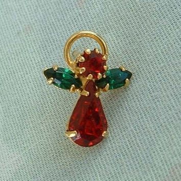 Rhinestone Angel Lapel Pin Green Red Pear Shaped Navettes Christmas Holiday Jewelry