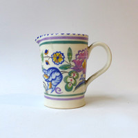 Antique hand painted and signed 1930's art deco Poole pottery cream jug, collectable creamer, UK pottery