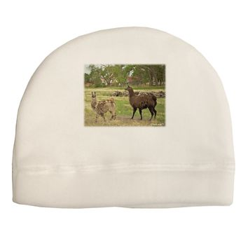Standing Llamas Adult Fleece Beanie Cap Hat by TooLoud