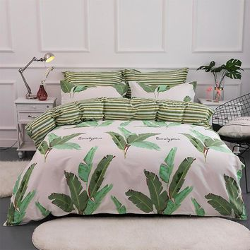 Tropical Plants Printed Duvet Cover Set AB Side 100% Cotton Bedding Set Twin Full Queen King Size Bed Linen 3Pcs Soft Bedclothes