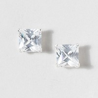 CZ 7mm Sterling Silver Stud Earrings  | Claire's