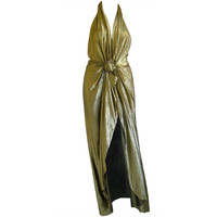 1970s John Anthony silk lame halter evening gown