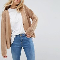 ASOS Ultimate Chunky Knit Cardigan With Button at asos.com