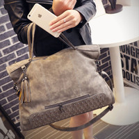 Womens Chic Punk Large Leather Shoulder Rivets Handbag Womens Messenger Motorcycle Bag Crossbody +Free Gift Christmas Gift Random Necklace