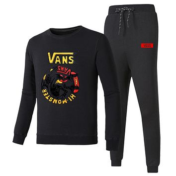 VANS 2018 autumn and winter new long-sleeved pullover casual beam pants plus velvet two-piece black