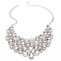 SilverCrystal Cluster Statement Necklace