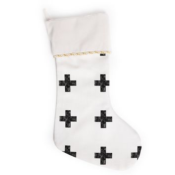 "Skye Zambrana ""Swiss Cross White"" Simple Light Christmas Stocking"