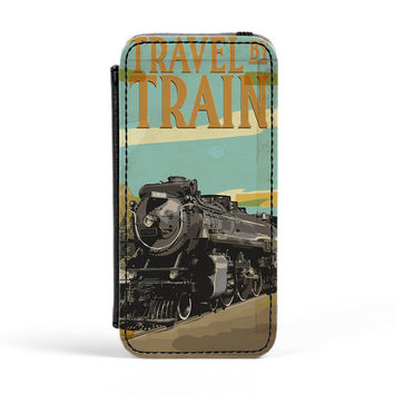 Travel By Train PU Leather Case for iPhone 5/5s by Nick Greenaway