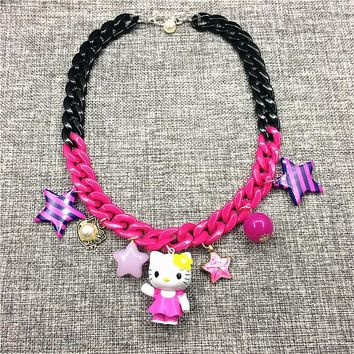 Cartoon Anime Hello Kitty Toys Necklace for Girls 50cm Kitty Action Figure Plastic PVC Necklace Christmas Birthday Gift Toys