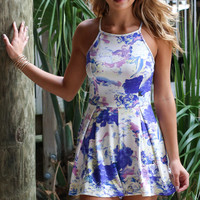 Floral Dreamer Blue & White Sleeveless Romper