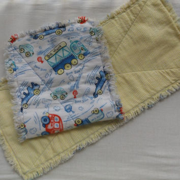 Cars and Trucks Extra Large Serged Edge Boutique Style Flannel Burp Cloth Set - New Design