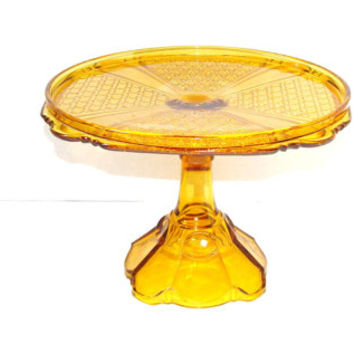 Bryce Brothers Fine Cut with Panel Russian Amber Glass Cake Stand EAPG 1889