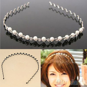 Korean Fashion Rhinestone & Imitation Pearl Wave Hairpin Hair Band Headband Accessories Hot selling 1CU2