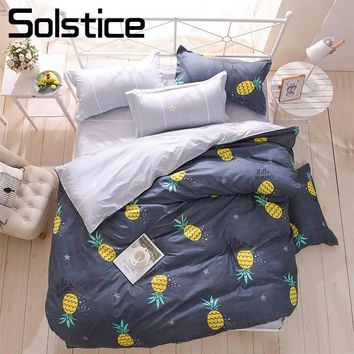 Solstice Home Textile Pineapple Cartoon Bedding Sets Kid Child Teen Boy Girl Linens Duvet Cover Gray Flat Sheets Pillowcase King