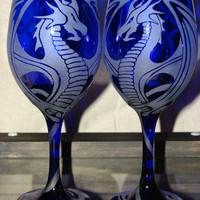 Hand Etched Cobalt Blue Dragon Wine by dragonflydesignsbykb