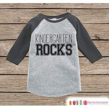 Kids School Outfit - Kindergarten Rocks - Boys Grey Raglan Kindergarten Rocks Tshirt - Kids Kindergarten Shirt - Sporty Back To School Top