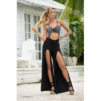 Black w/ White Stripe Cut-Out Front & Open Back Jumpsuit