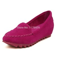 Newly Women's Genuine Fur Loafers Inner Increase Single shoes Loafers Shoes for Pregna