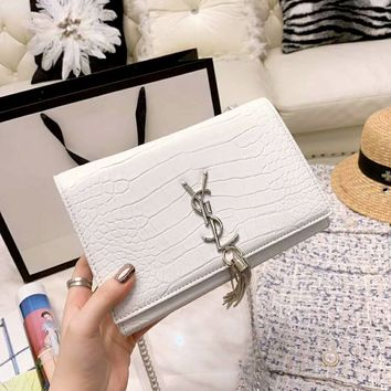 YSL tide brand female models high quality crocodile pattern tassel chain small square bag chain bag
